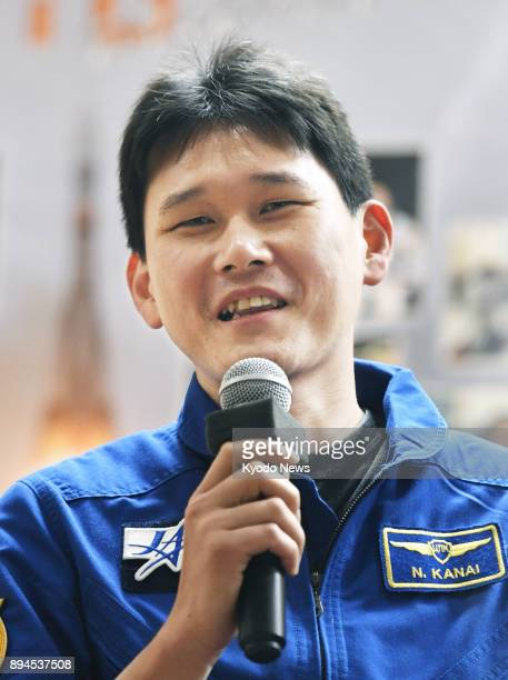 Japanese astronaut Norishige Kanai speaks to reporters before boarding a Soyuz spacecraft at Baikonur Cosmodrome in Kazakhstan on Dec 16 2017 ==Kyodo