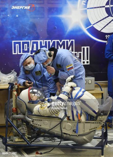 Japanese astronaut Norishige Kanai undergoes a final checkup before a Russian Soyuz spacecraft carrying him and two other astronauts is launched to...