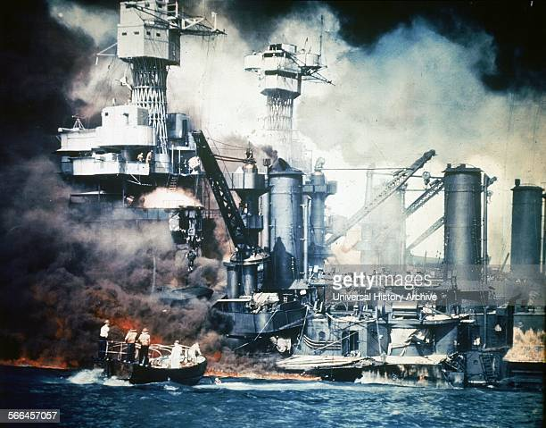 Japanese attack on the US Naval base at Pearl Harbor, 7th December 1941.
