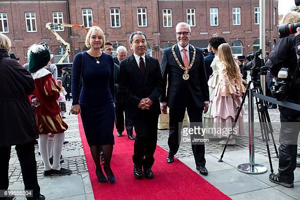 Japanese author Haruki Murakami arrives to the Hans Christian Anderson Literature Award presentation where he will receive the prestigious award at...