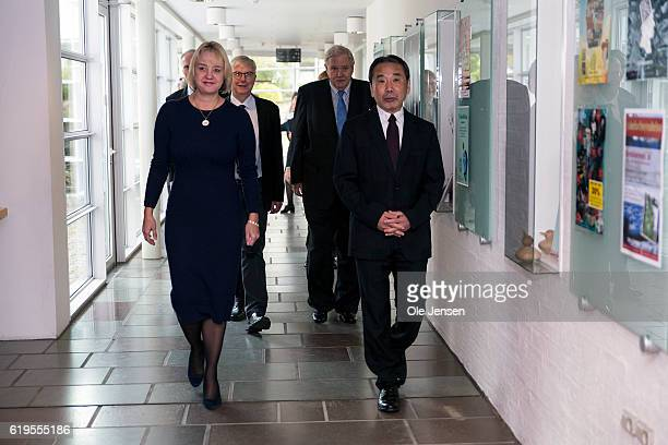 Japanese author Haruki Murakami arrives to the museum Hans Christian Anderson House where a memorial plaque will be revealed in Odense on October 30...