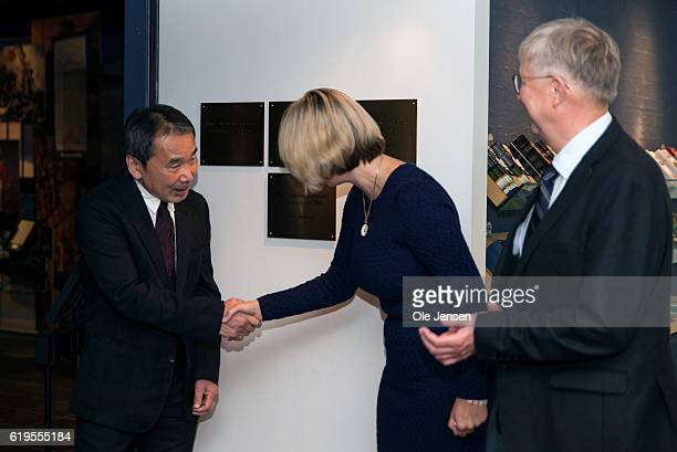 Japanese author Haruki Murakami expresses his gratitude for a memorial plaque with his name at he museum Hans Christian Anderson House on October 30...
