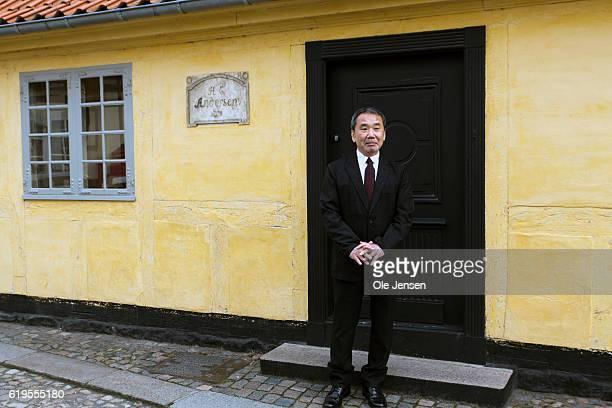 Japanese author Haruki Murakami outside the house of Danish author Hans Christian Anderson prior to Murakami's receival of the prestigious Hans...