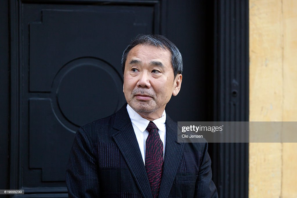 Japanese author Haruki Murakami outside the house of Danish author Hans Christian Anderson prior to Murakami's receival of the prestigious Hans Christian Anderson Literature Award at the City Hall in Odense on October 30, 2016, in Demark.