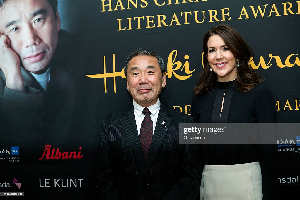 Japanese author Haruki Murakami together with Crown Princess Mary of Denmark during the H. C. Andersen Literature Award presentation to Murakami at Odense City Hall on October 30, 2016, in Denmark. The prize was a bronze statue depicting Hans Christian Anderson's 'The Ugly Duckling' and DKK 500.000 (EUR 57.000).