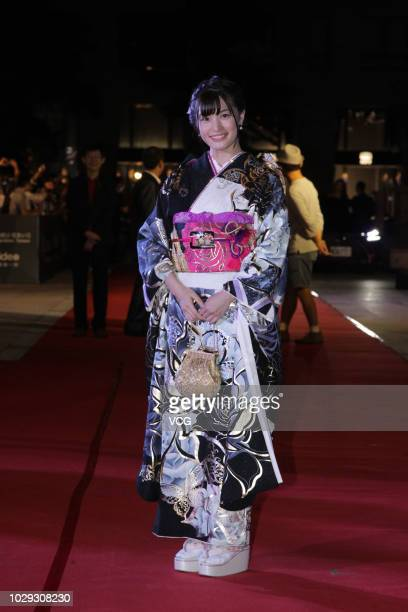 Japanese AV actress Shoko Takahashi arrives at the red carpet of the 58th AsiaPacific Film Festival on September 1 2018 in Taipei Taiwan of China