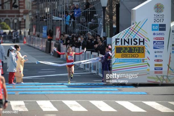 Japanese Ayaka Fujimoto crosses the finish line during the Tokyo Marathon 2017 in Tokyo Japan on February 26 2017