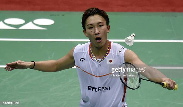 Japanese badminton player Kento Momota in action against Viktor Axelsen of Denmark at Men's final match during the YonexSunrise India Open Badminton...