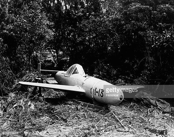 """Japanese """"Baka"""" Bomb, a piloted rocket-propelled missile. Dropped from four miles up, it eventually hits its target going over 600 mph. The explosive..."""