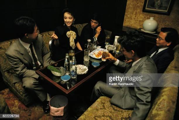 Japanese Bar Hostess Entertaining Businessmen