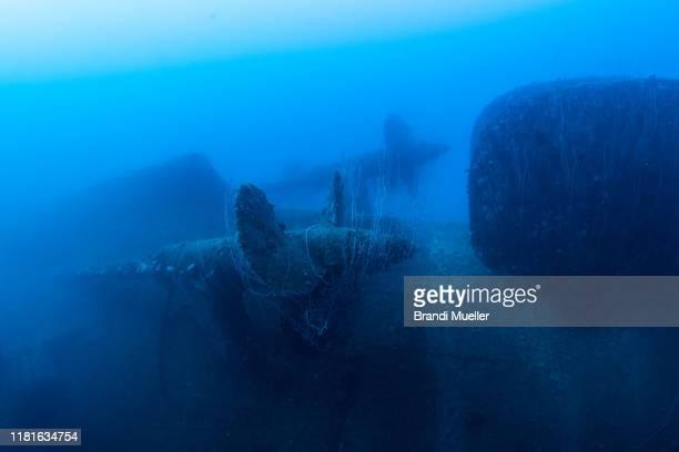 japanese battleship nagato underwater, bikini atoll, marshall islands - satellite views of bikini atoll marshall islands stockfoto's en -beelden