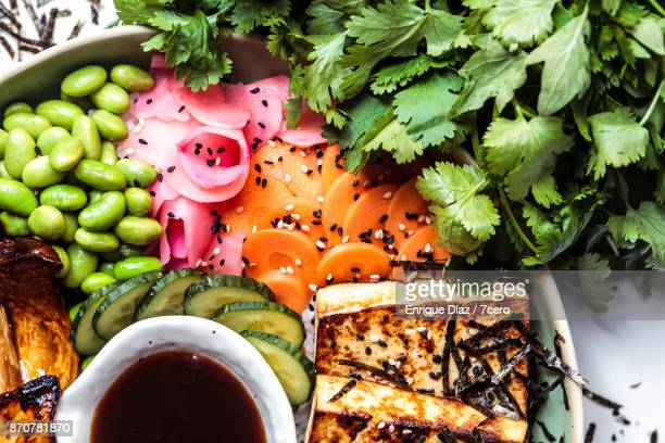 japanese bbq bowl details - pickled ginger stock pictures, royalty-free photos & images
