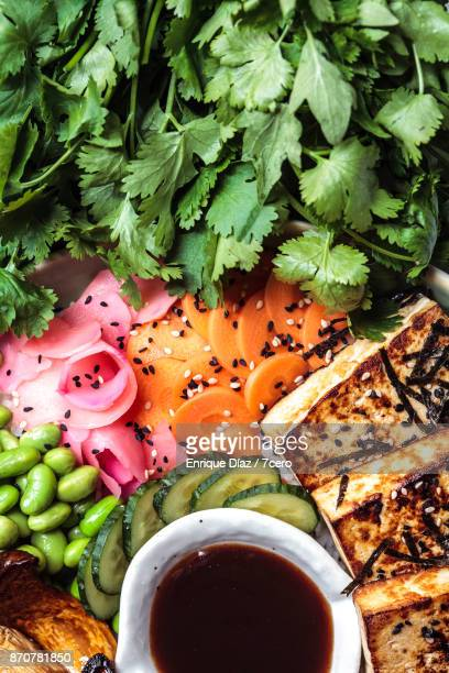 japanese bbq bowl pickle details - pickled ginger stock pictures, royalty-free photos & images