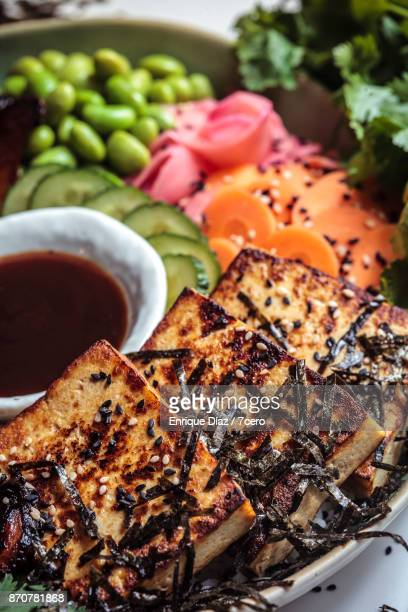 japanese bbq tofu bowl - pickled ginger stock pictures, royalty-free photos & images