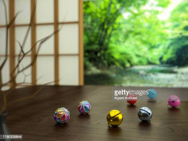 japanese bells on the table. suzu on the table.japanese style room. 3d illustration - 和室 ストックフォトと画像
