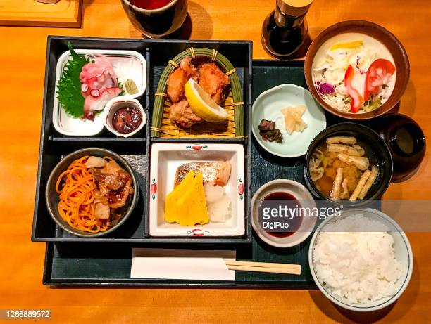 japanese bento served at lunchtime - aburaage stock pictures, royalty-free photos & images