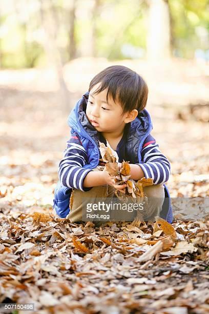 日本で遊ぶ少年、東京の公園