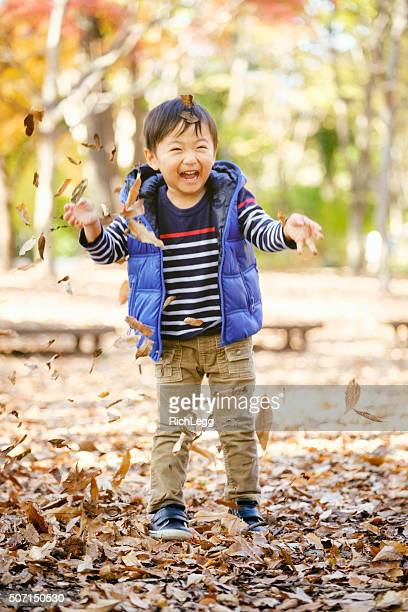 Japanese Boy Playing in the Park