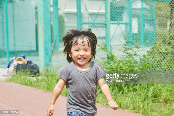 Japanese boy running