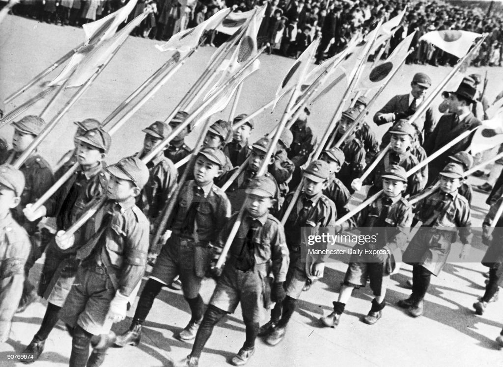 Boy scouts celebrate the 2,598th anniversary of Japan, Tokyo, 1938. : News Photo