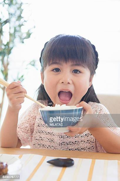 Japanese boy with a bowl
