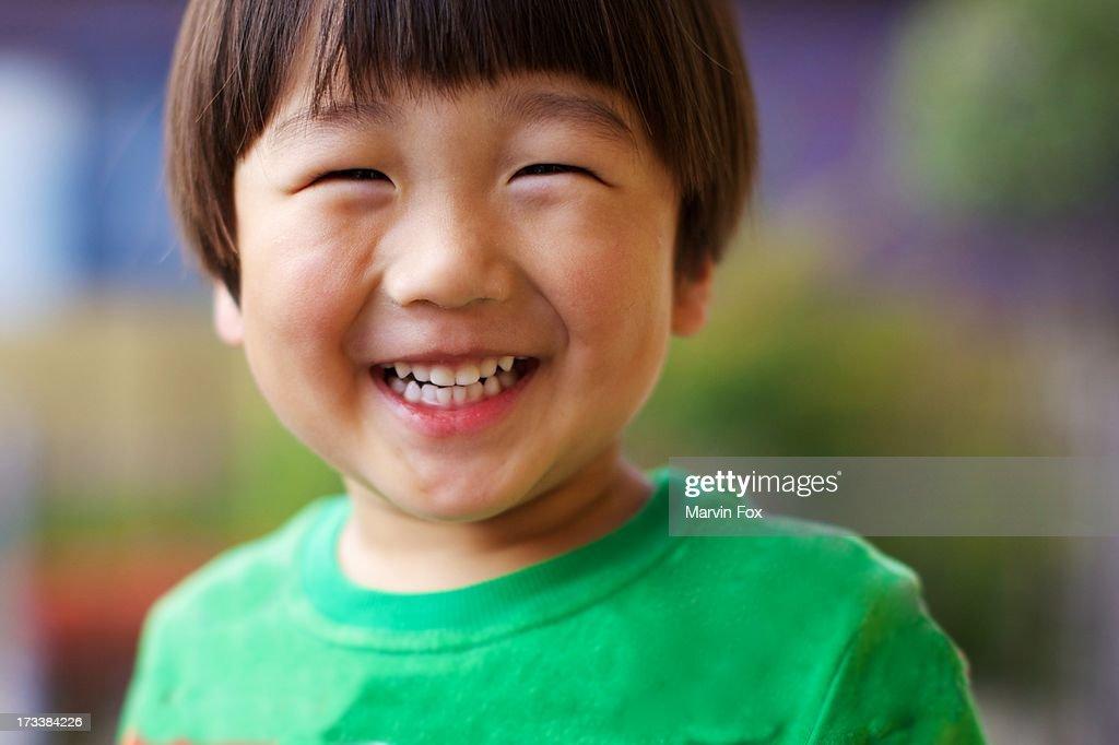 Japanese boy's big smile : Stock Photo
