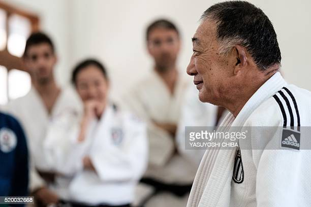 Japanese Brazilian Judoka and Olympic bronze medalist Chiaki Ishii gives a lesson at Rio de Janeiro's Riot Police Headquaters in Rio de Janeiro...
