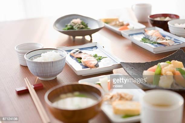 japanese breakfast on table - breakfast ストックフォトと画像