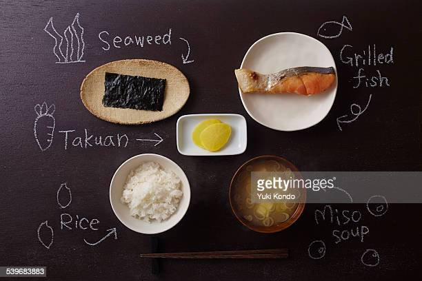japanese breakfast. - takuan stock photos and pictures