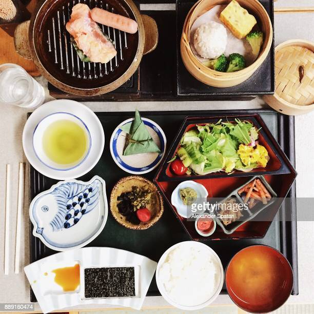 Japanese breakfast served in a ryokan, high angle view