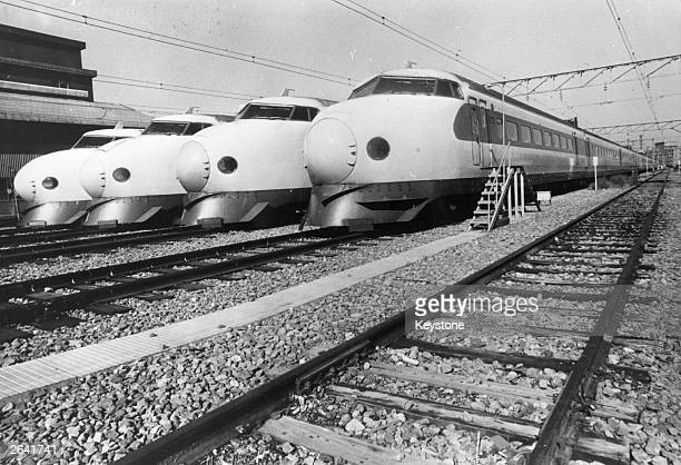 Japanese Bullet Trains lying idle at Shinagawa Railway Station during a 24 hour transport strike