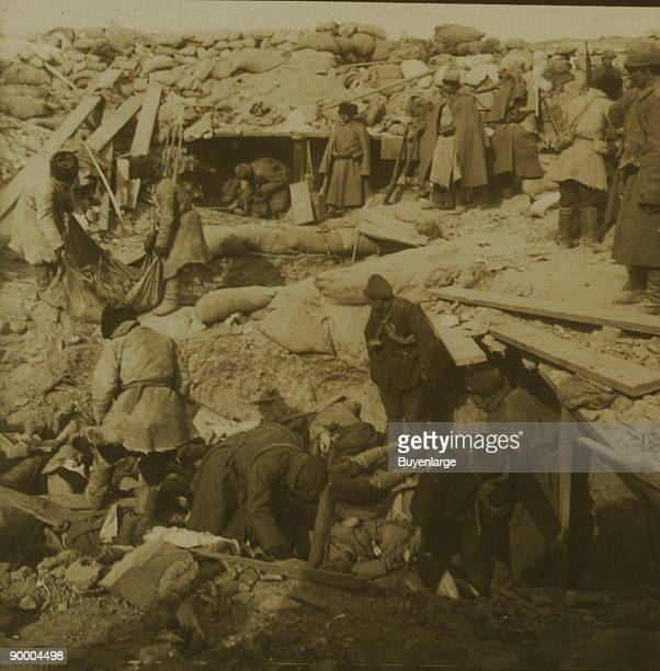 Japanese buried by Russians inside fort - every man entering killed by bayonet - Port Arthur