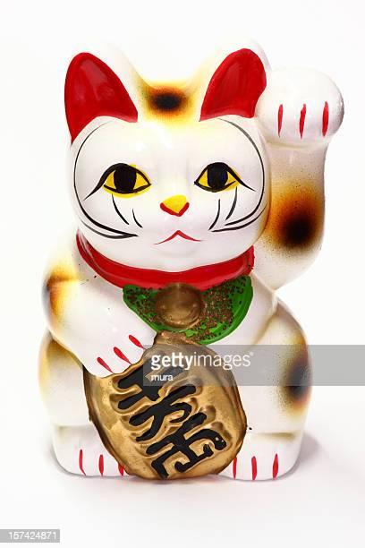 japanese business artefact - maneki neko - maneki neko stock photos and pictures