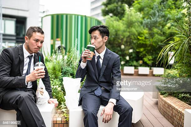 japanese Business people doing the lunch break
