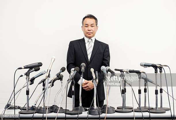 japanese business press conference - press room stock pictures, royalty-free photos & images