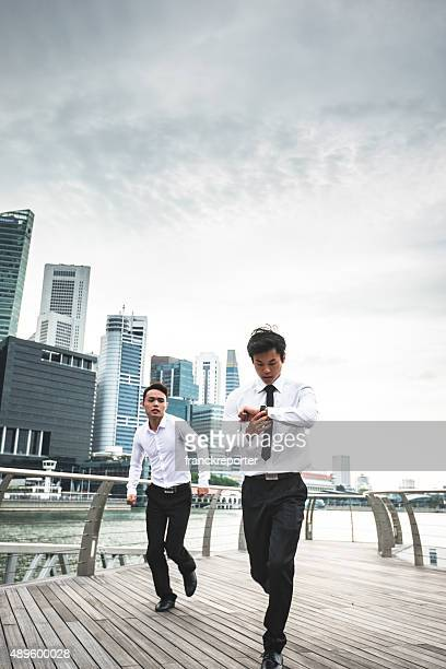 japanese Business running on rush on the city of singapore