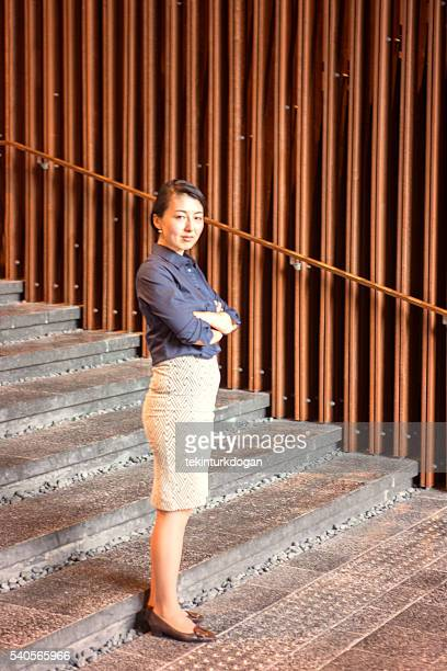 Japanese business woman standing in office at kyoto japan