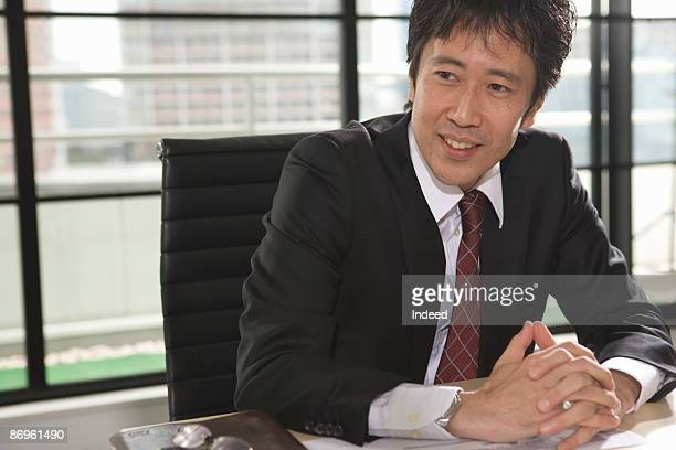 Japanese businessman in office
