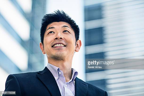 Japanese businessman outdoors