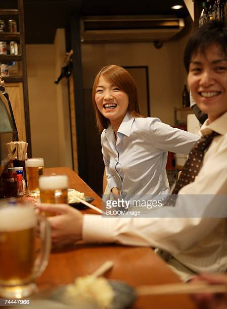 Japanese businessman talking in Izakaya