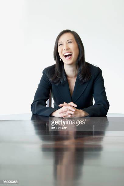 Japanese businesswoman laughing