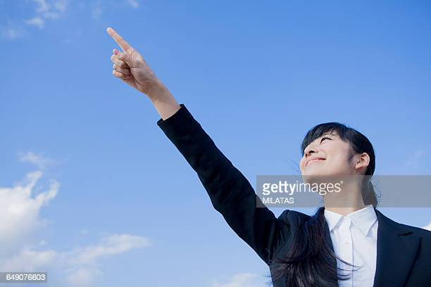 Japanese businesswoman of the sky refers to the finger