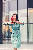 Japanese businesswoman texting