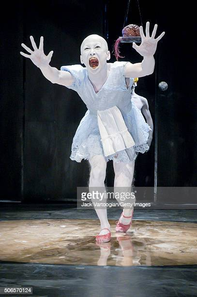 Japanese Butoh dancer and choreographer Kumotaro Mukai of the troupe Dairakudakan performs the 'Maggot Brain' section of his 'Universe of DarahReturn...