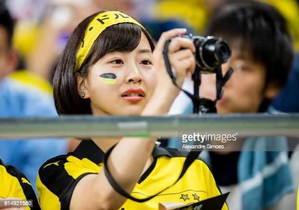 Japanese BVB fan during the preseason friendly match between Urawa Red Diamonds and Borussia Dortmund at Saitama Stadium on July 15 2017 in Saitama...