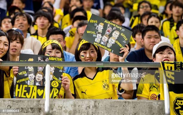 Japanese BVB fans during the preseason friendly match between Urawa Red Diamonds and Borussia Dortmund at Saitama Stadium on July 15 2017 in Saitama...