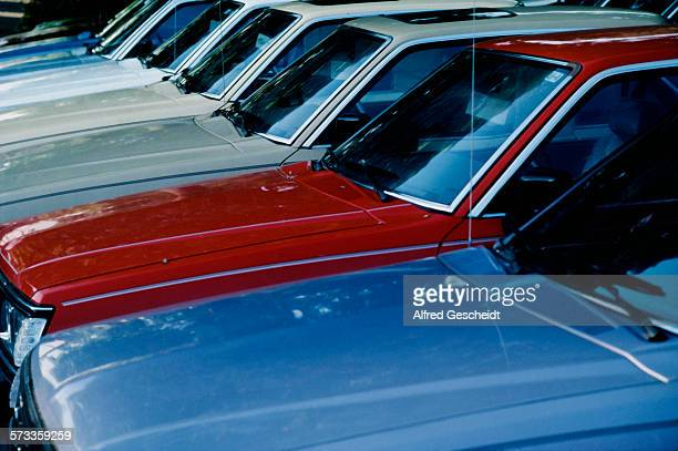 Japanese cars in red white and blue 1985
