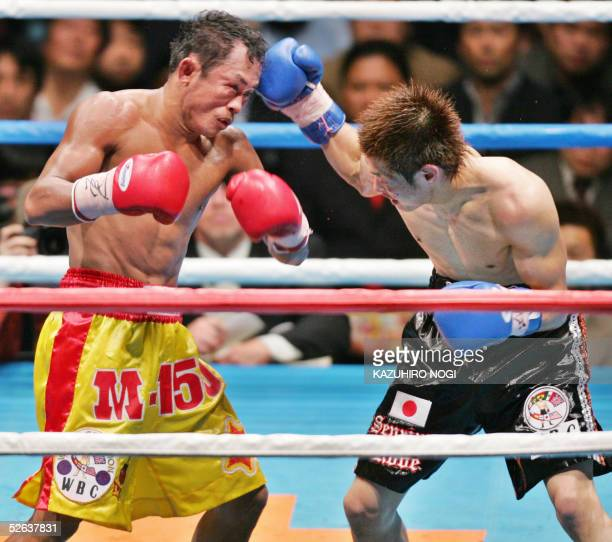 Japanese challenger Hozumi Hasegawa and Thai champion Veeraphol NakhonluangPromotion fight in the final round of the 12rounds WBC bantamweight title...