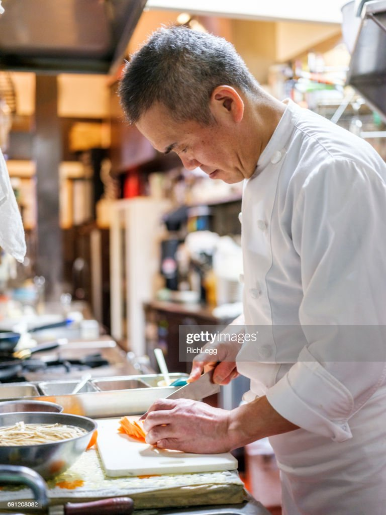 Japanese Chef Working in a Tokyo Restaurant : Stock Photo