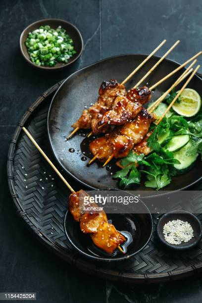 japanese chicken yakitori skewers - asian food stock pictures, royalty-free photos & images